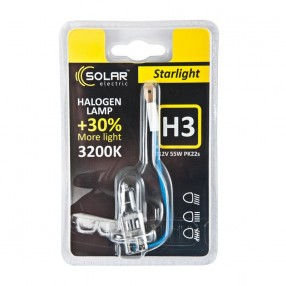 Галогеновая лампа Solar H3 12V 55W PK22s Starlight +30% (1203B1)